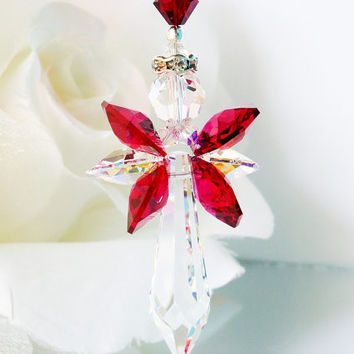 Red and Black Angel Suncatcher Car Rear View Mirror Charm Swarovski Crystal Car Accessories