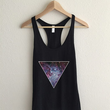 Galaxy Triangle Print Fine Jersey Athletic Racerback Tank Top