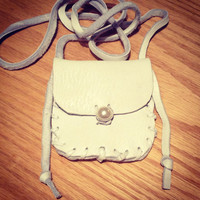Handmade deerskin white leather pouch necklace boho native