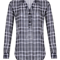 Black White Tartan Plaid Sheer Chiffon Blouse