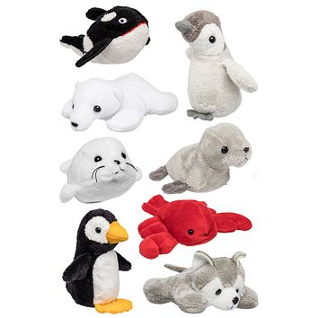 Bulk 8 Pack Arctic Mini 4 Inch Small Stuffed Animals, Variety of Zoo Animal Toys, Party Favors for Kids