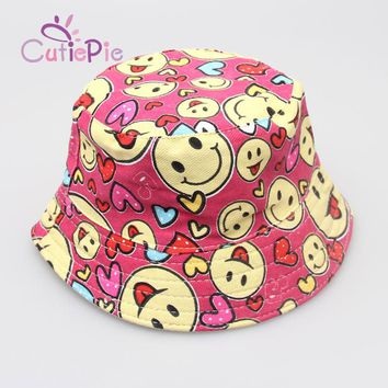 Kids Floral Sun Protection Hat Design Summer Beach Flower Canvas Boonie Fisherman Hats Bucket Hat Cap For Kids