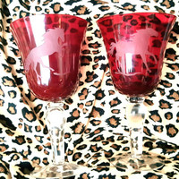 A Set of Two Large Ruby Red Wine Goblets With Clear Ball Stems and Etched Horse Design, Horse Etched Wine Glasses