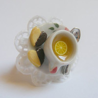 Lemon Tea and Chocolate Shortbread Miniature Food Ring - Miniature Food Jewelry,Handmade Jewelry Ring