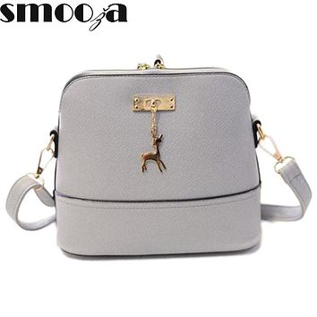 SMOOZA Women shoulder bags messenger bag women leather small shoulder bag famous brand cross body bag Deer Spliced Collision