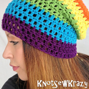 Crochet Slouch Beanie- Rainbow Stripe Pink Orange Yellow Green Blue and Purple-  Slouchy Beanie Hat