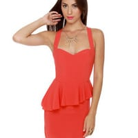 Cute Red Dress - Peplum Dress - Sleeveless Dress