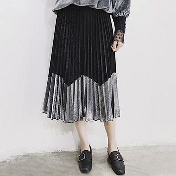 TWOTWINSTYLE Metallic Sensation Pleated Skirt Vintage High Waist Midi Tutu Skirts Womens Summer Style Femme Casual Clothing