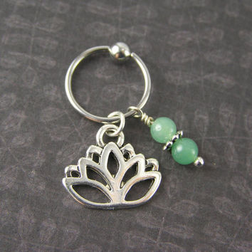 Silver Lotus Flower & Green Jade CBR Captive Bead Ring 14g 16g Cartilage Hoop Tragus Helix Conch Belly Button Navel Ear Piercing