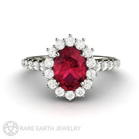 Oval Ruby Ring Ruby Engagement Ring Conflict Free Diamonds July Birthstone Gemstone Red Ring 14K or 18K Gold Wedding Ring