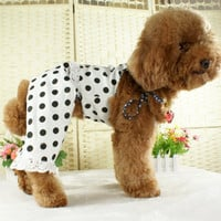 White Colored Shirt With Black Polka Dot Clothing for Dogs & Pet Stores-Size XL