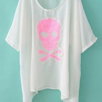 Pink Skull Sequin Batwing Thin Top/Bikini Cover-up