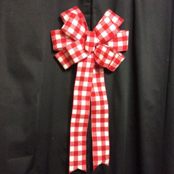Red and White Checked Christmas Wreath Bow