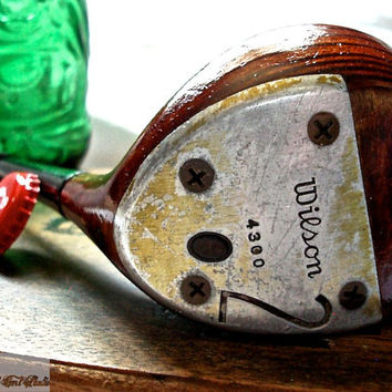 Golf Club Bottle Opener-- Rustic Red Wilson Sweepstakes 2 Wood Bottle Opener --OOAK