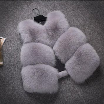2018 Xulanbaby Winter Women's Coat Faux Fox Fur Vest Patchwork Slim Vest Wild Preppy Fur Coat Furry Warm Overcoat AW278