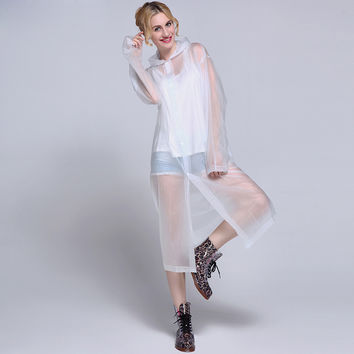 Fashion Women EVA Transparent Raincoat Poncho Portable Light Raincoat NOT Disposable Rain Coat For Adult