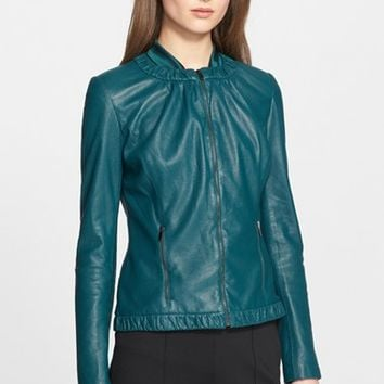 Women's St. John Collection Perforated Nappa Leather Jacket,