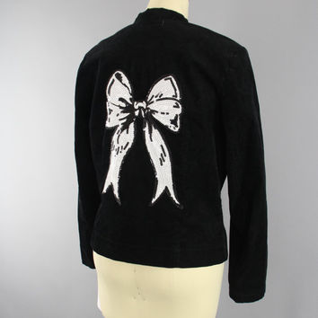 Sequined Corduroy Jacket / Black & White Bow / Sequin Embroidery / Cord Blazer / Rockabilly Girl / Size Large L XL 12