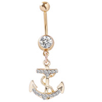 Gold Anchor Belly Button Ring - Stainless Steel