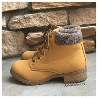 """Bucket List"" Pepper Trim Tan Bootie Boots, Ankle Boots"
