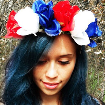 Flower crown, colorful, festival, hair vine, garden wedding, summer headband, edc, rave outfit, accessories, coachella, fairy, hippie blue