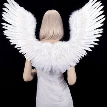 FashionWings (TM) White Open Swing V Shape Costume Feather Angel Wings Adult Unisex