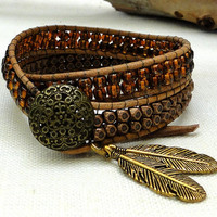 chan luu inspired wrap leather bracelet bohemian surfer style 2 two double wraps with brown glass copper floral faceted beads leaf pendants
