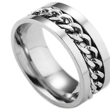 Spinner Silver Chain Fashion Ring For Men