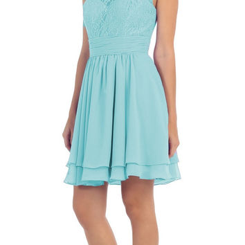 Starbox USA S6146 Sleeveless Bateau Neck Lace Bodice Short Bridesmaids Dress Tiffany Blue