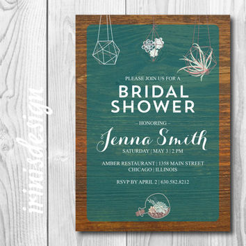 Wood Succulent Bridal Shower Invitation | Green fresh  hanging garden flowers mint coral printable 123
