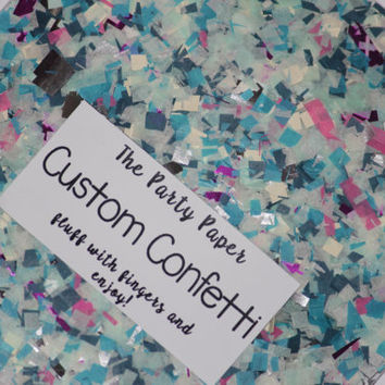 Confetti, silver, ivory, blue and pink, birthday party, wedding, bridal shower, party decorations, baby shower, push pop filler