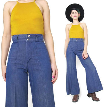 1970s Flared Jeans Vintage Sailor Girl Jeans Bell Bottom Jeans Petite Womens 1970s Jeans Dark Blue Denim Boho Hippie High Waist Jeans (XS)