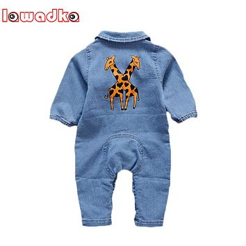 Lawadka Denim Baby Romper Baby Graffiti Rainbow Pattern Baby Jumpsuit Infant Clothes Boy Girls Costume Cowboy Jeans