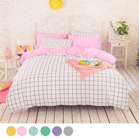 High density pure cotton Duvet covers set,Simple lattice bedding set,Double single duvet covers king size,bedclothes #HM4529