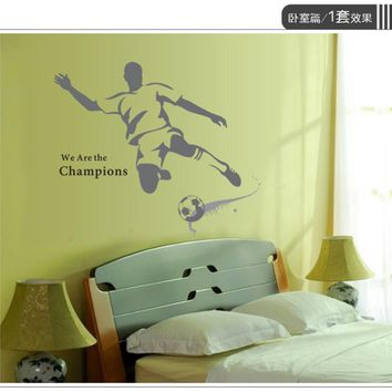 Hot Sale 2016 wall stickers  New Creative Sport Football Stickers Removable Mural PVC Home Decor posters adesivo de parede XT
