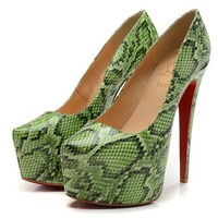 Christian Louboutin Fashion Edgy Snakeskin Red Sole Heels Shoes
