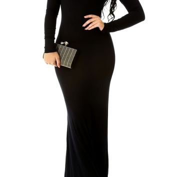 Sexy Fitted Long Sleeve Turtleneck Bodycon Mermaid Maxi Long Dress