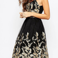 Black Embroidery Floral Backless Cami Dress