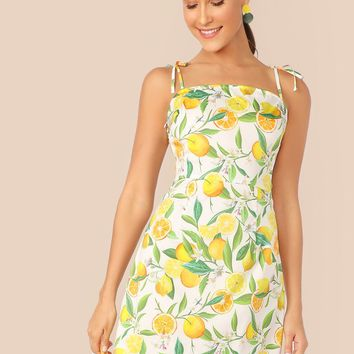 Zip Side Knot Shoulder Fruit Print Slip Dress