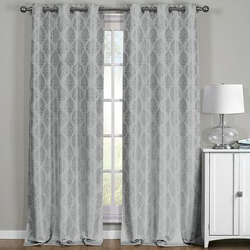 Gray Paisley Thermal Blackout Grommet Curtain Panels (Set of 2 Panels )