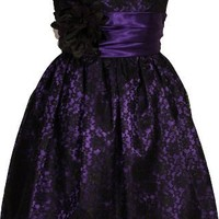 Strapless Lace Overlay Satin Bubble Prom Dress