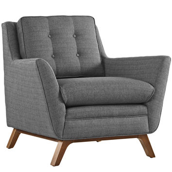 Modway Beguile Fabric Armchair in Tufted Gray W/ Walnut Finished Legs