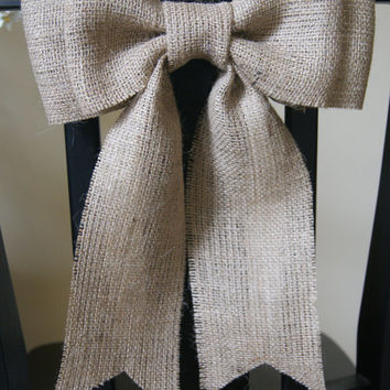 "Burlap Bow 12"", pew decor, wedding decor, home decor"