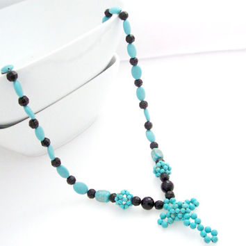 Christian Jewelry, Turquoise and Black Cross Necklace, Christian Necklace, Cross Jewelry, Religious Necklace, Spiritual Jewelry