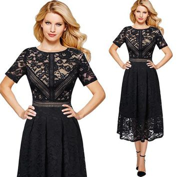Full Floral Lace Contrast Patchwork Flare Swing Skater A-Line Midi Dress
