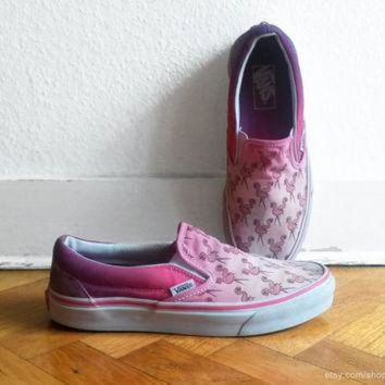 VLXZRBC Flamingo pink ombre Vans slip on sneakers, upcycled vintage skate shoes, size eu 39 (U