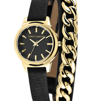 Vince Camuto Ladies Gold-Tone Curb Link Watch