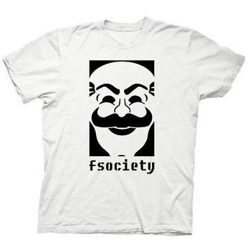 Mr. Robot F Society Logo TV Drama Show Licensed Adult Unisex T-Shirts - White
