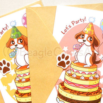 Cute Beagle Happy Birthday Notecard: Cute Dog Card, Kids Birthday Card, Animal Card, Birthday Cake Card, Kawaii Stationery, Party Invitation