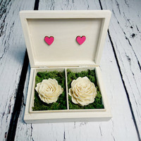 Wedding rings box vintage puzzle love wedding pillow rustic looking old moss sola flowers shabby chic off white pink hearts distressed